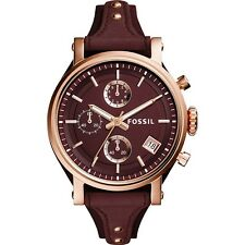 Fossil Women's ES4114 Chronograph Wine Dial Wine Leather Watch