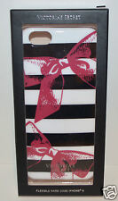 VICTORIA SECRET BLACK WHITE STRIPE PINK BOWS IPHONE 6 FLEXIBLE HARD CASE SLEEVE