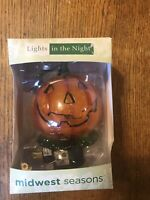 Midwest Seasons Lights In The Night Glass Pumpkin Halloween Night Light