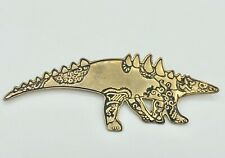 Vintage Brass Carved Aztec Huge Pangolin Pin Ornate and Very Hard To Find