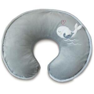 Boppy Nursing Pillow Positioner Luxe Chevron Whales Gray Fleece Ribbed Trim Feed