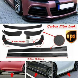 """Carbon Fiber Front Bumper Lip Spoiler+86.6"""" Side Skirt Kit For VW Golf MK6 7 GTI"""