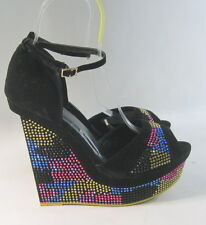 "Black Colorful Rhinestones 6""Wedge Heel 2""Platform Ankle Strap Shoes Size 8"