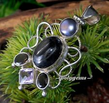 WIRE WORK MULTIGEMS HYPERSTHENE SMOKY QUARTZ PEARL 925 SILVER OVAL PENDANT 64MM
