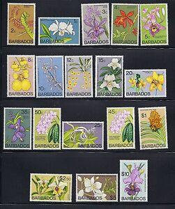 Barbados 1974-77 Orchidee Ordinari Completo VF Mlh