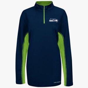 Seattle Seahawks 1/4 Zip Defending Zone Synthetic Jacket 2XL Navy Cool Base NFL