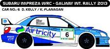 DECALS 1/43 SUBARU IMPREZA WRC - #6 - KELLY - RALLYE GALWAY INTER 2013 - D43182