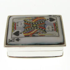 HALLMARKED SILVER PILL BOX KING OF SPADES.  925 SILVER ENAMEL PLAYING CARD BOX