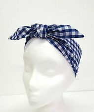 Rockabilly Headscarf Headband Bandana Blue White Gingham Hair Tie