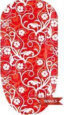 Unghie FASCE Nail Art Acqua Trasferelli Decalcomanie - Rosso Floreale - W040