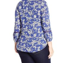 Women's Lucky Brand Floral Peasant  Blouse  2x Embroidery