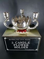 Vintage Montgomery Ward Silver Plated Lotus Shaped 3 Candle Flower Holder w. Box