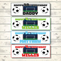 2 PERSONALISED 800 x 297mm FOOTBALL BIRTHDAY BANNERS - ANY NAME/AGE/MESSAGE