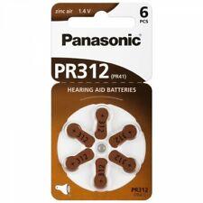 6 x Panasonic 312 Pile Batterie Protesi Udito per Apparecchi Acustici PR312
