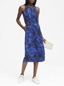 Banana Republic Floral Racerback Midi Dress, Size 6 Blue Print (101229)