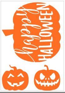 Wall Window Pumpkin Hunt Decal A4 Sheet 3 Pumpkins Happy Halloween Orange