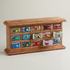 "Small Wooden Jewelry Chest w/Colorful Ceramic Drawers, 12""W x 3""D x 6.25""H"