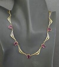 VTG Art Deco Faceted Amethyst Glass Gold Plated Link Collar Necklace Antique