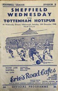 Sheffield Wednesday v Tottenham Hotspur  Div 2  1948/49
