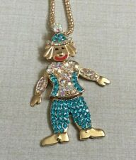 Betsy Johnson Multicolor Crystal Clown Pendant on Long Gold Necklace New Style!