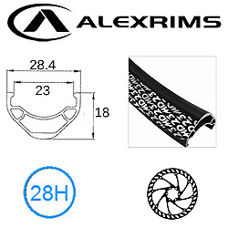 """RIM, ALEX 27.5/ 650B"""" Md-23, 28H Black D/w Alloy w/ SSE, Non/Msw, F/v (584x23 @5"""