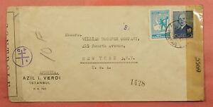194? TURKEY INSTANBUL TO USA WWII CENSORED