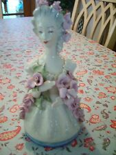 """CORDAY  Porcelain 1940's 9.5"""" Tall Figurine Lady w/ Applied Pink ROSES #5054 EXC"""