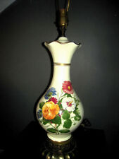 Vintage Mid-Century Ceramic Belly Table Lamp w/ Springtime in Bloom artwork