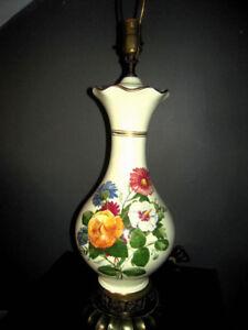 Vintage Ceramic Belly Table Lamp w/ Mid-Century Springtime in Bloom Artwork