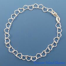 "7"" Multi Heart Link Chain 925 Solid Sterling Silver Charm Bracelet MADE IN ITALY"