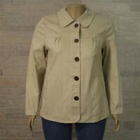 Denim & Co MEDIUM Khaki Beige Stretch Denim Button Front Jacket Pockets