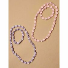2 x Beaded flower stretch necklace and matching bracelet sets childs cgg