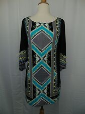 Alfani Petite Kimono Sleeve Modern Tribal Printed Tunic Top PM #3453