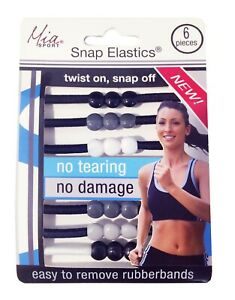 Mia Sport Snap Elastics, Hair RubberBands, Hair Ties for Sports, Less Damaging