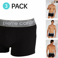 Pierre Cardin 3 Pack Boxers Mens Underwear Shorts Briefs Trunks Black Grey Navy