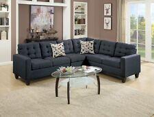 Living Room 4pc Sectional Sofa Set Loveseat Armless Chair Black Polyfiber Pillow