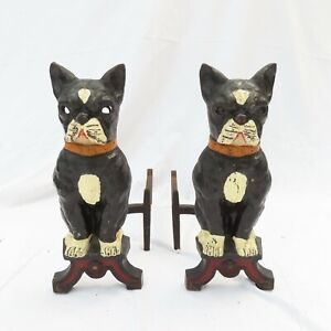 Antique Howes Andirons Cast Iron French Bull Dog Glass Fireplace Boston Terrier