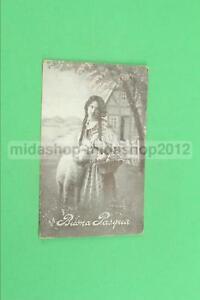 CARTOLINA BUONA PASQUA RITRATTO RAGAZZA FIORI E AGNELLO  1917[CAR-528]