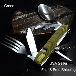 6 in1 Folding Travel Camping Utensil Stainless Pocket Spoon Knife Fork Outdoor