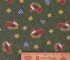 """Chickens Roosters Wire Green Star Heart scrap bolt end fabric 7 1/2"""""""" by 44"""""""