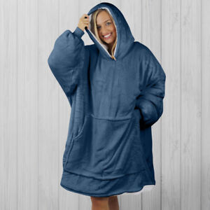 Hoodie Blanket by Snoogie Warm Double Layer 430gsm | Unisex Adult Size | Navy