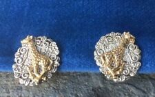Vintage CLIP ON EARRINGS The Running Giraffe African Jungle Zoo Gold & Silver 1""