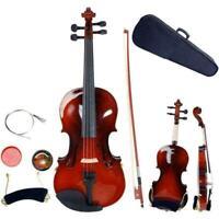 Size 1/4 Natural Acoustic Violin with Case Bow Rosin Strings Tuner Shoulder Rest