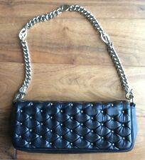 CESARE PATIOTTI Quilted Chain Baguette Bag Purse Handbag Black Studded