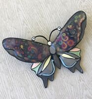 Unique large Butterfly Brooch  enamel on Metal