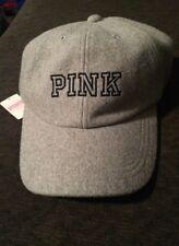 Pink by Victorias Secret logo gray wool adjustable cap *NWT*