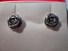 925 Sterling Silver Rose Earrings w/Butterfly Backs
