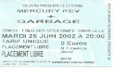 Rare/ticket concert tickets-garbage live lille (France) 2002/used stub