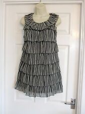 tiered mini dress Fits Size 8 Womens Summer Party Ladies Black White Work