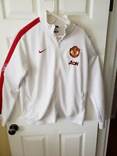 Nike Manchester United Jacket White Red Size XL Aon Track Dri Fit Zip Up